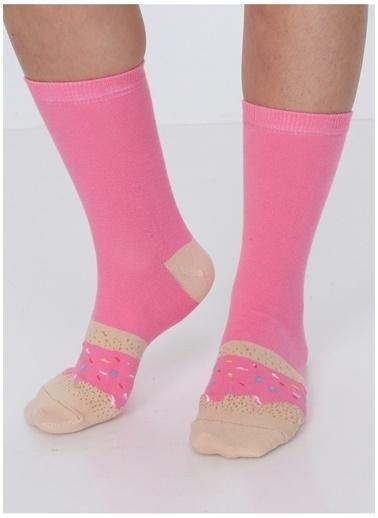 Socks+Stuff Socks&Stuff Strawberry Candy Donut Çorap Pembe